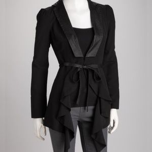 DOUBLE ZEROBlack Ruffle Fit at the Waist Jacket